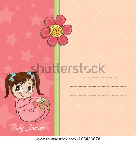 new baby girl announcement card with little girl - stock vector