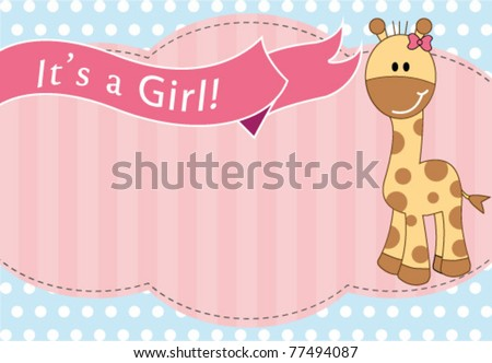 New baby girl arrival card - stock vector