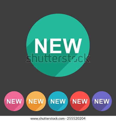 New badge flat icon sign symbol set - stock vector