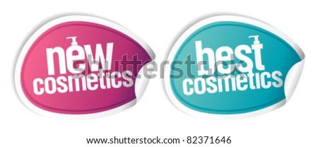 New best cosmetics stickers set. - stock vector