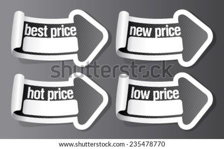New best price stickers in form of arrow. - stock vector