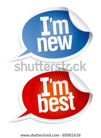 New best products stickers set in form of speech bubbles.
