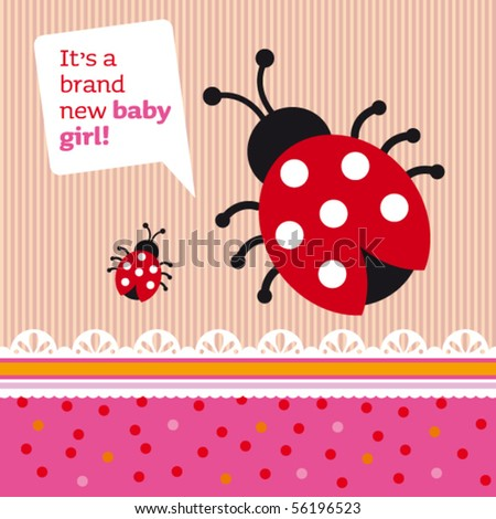 New born baby girl announcement card cover design in vector - stock vector