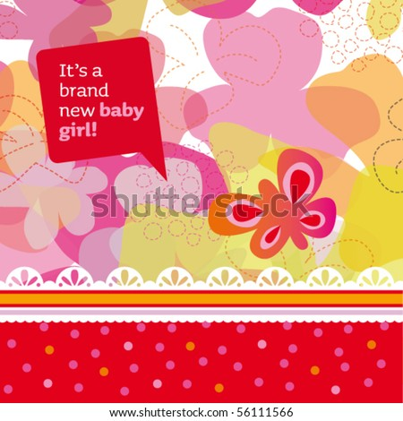 New born baby girl card design with butterfly and flowers in vector - stock vector