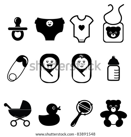 New born baby icons - stock vector