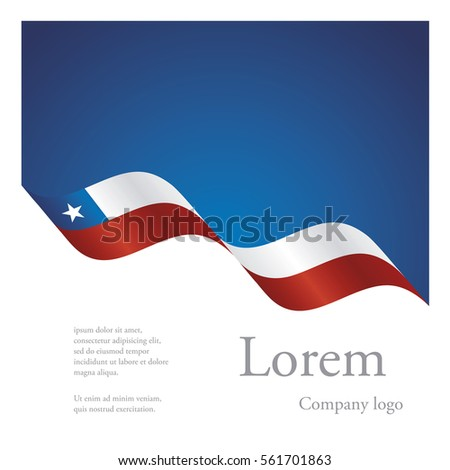 New brochure abstract design modular pattern of wavy flag ribbon of Chile