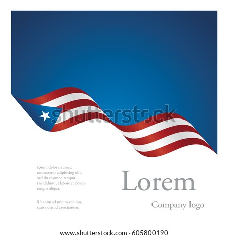 New brochure abstract design modular pattern of wavy flag ribbon of Puerto Rico