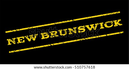 New Brunswick watermark stamp. Text tag between parallel lines with grunge design style. Rubber seal stamp with dust texture. Vector yellow color ink imprint on a blue background.