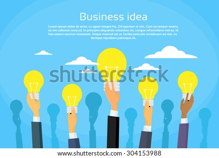New Business Idea Concept Businesspeople Hands Holding Light Bulb Flat Vector Illustration