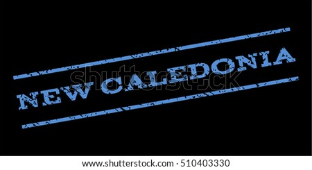 New Caledonia watermark stamp. Text tag between parallel lines with grunge design style. Rubber seal stamp with dust texture. Vector blue color ink imprint on a black background.