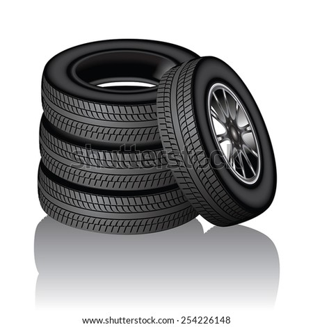 New car tires isolated on white background. Vector illustration