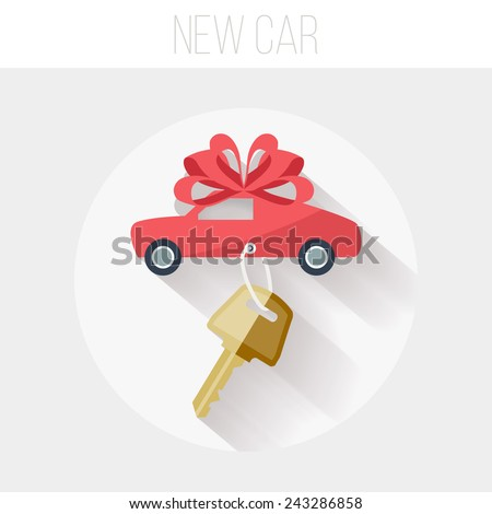 New Car with Key and Ribbon Icon, Flat Vector Illustration - stock vector