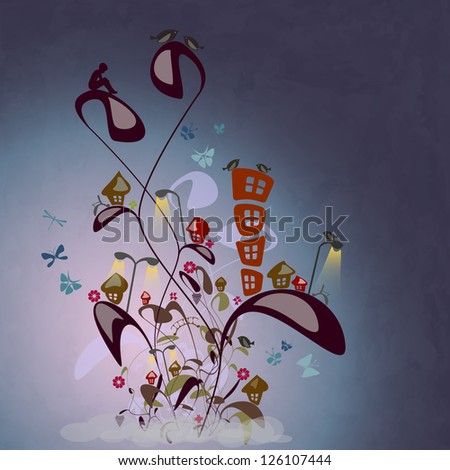 new cartoon style illustration with fantastic city on abstract plants with birds and butterflies - stock vector
