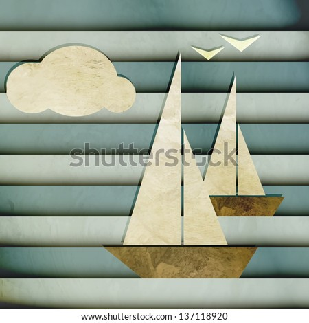 new cartoon style image with boats cloud and seagulls can use like nautical design - stock vector