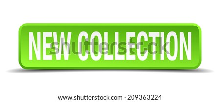 new collection green 3d realistic square isolated button - stock vector