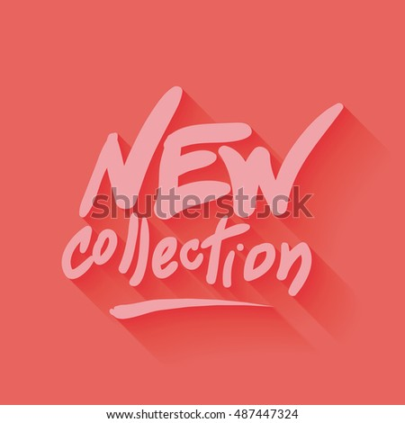 new collection hand written text, illustration in red color backdrop