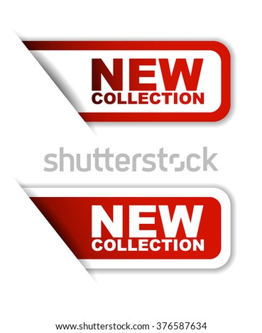 new collection, red vector new collection, red sticker new collection, set stickers new collection, element new collection, sign new collection, design new collection, illustration new collection - stock vector