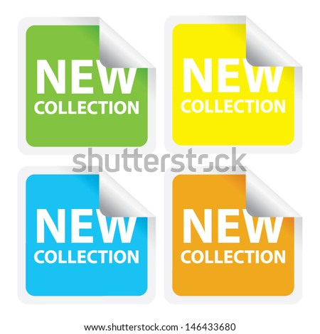 New Collection stickers and labels. Vector illustration   - stock vector