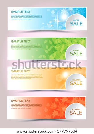 New collections, Sale collections  banners winter, spring, summer, autumn,  - stock vector