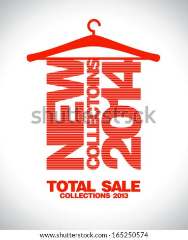 New collections 2014, total sale collections 2013 banner. - stock vector