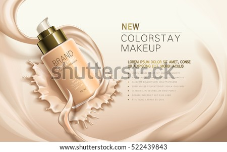new colorstay makeup, contained in transparent bottle, creamy skin color background, 3d illustration
