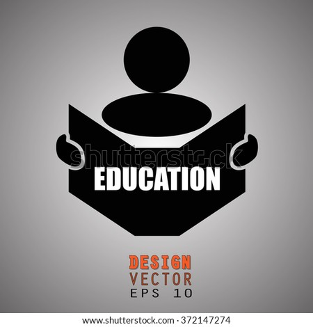New concept of EDUCATION symbol : Book, Magazine, Ebook reader, student, teacher, tutor with hands symbol. Silhouette of a man holding a book with inscriptions. Vector illustration EPS 10 - stock vector