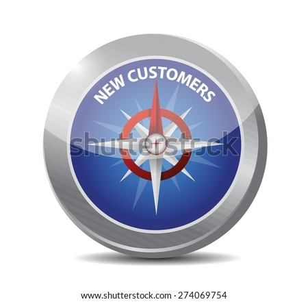 new customer compass sign concept illustration design over white