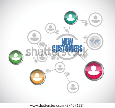 new customers people diagram sign concept illustration design over white - stock vector
