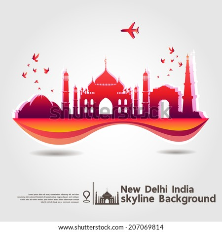 New Delhi, India, skyline background, vector Illustration - stock vector