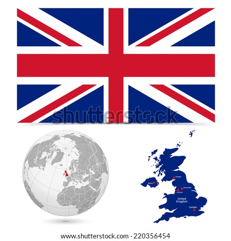 New Detailed vector  flag with Map world of England. Names, town marks and national borders are in separate layers. with globe That separates by Continent. - stock vector