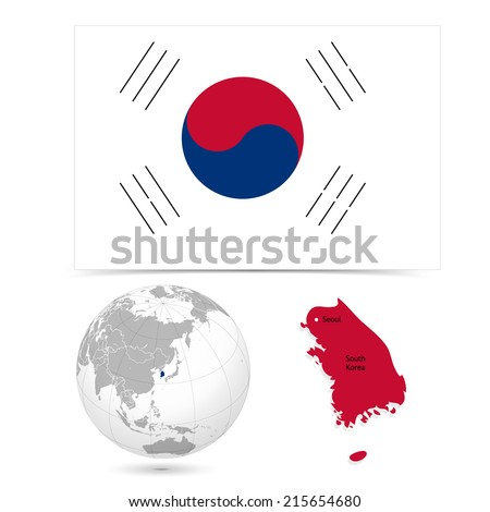 New Detailed vector  flag with Map world of South Korea. Names, town marks and national borders are in separate layers. with globe That separates by Continent. - stock vector