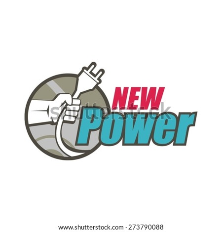 New electric hybrid power logo. - stock vector