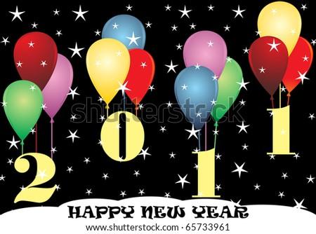 New 2011 end balloons - stock vector