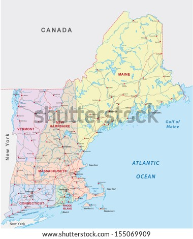 New England Road Map Stock Vector Shutterstock - Road map maine