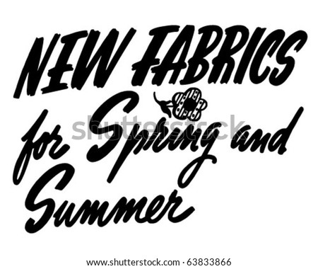 New Fabrics For Spring & Summer - Ad Header - Retro Clipart