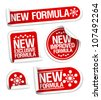 New Formula stickers set. - stock vector