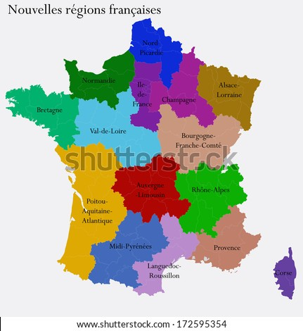 New French regions. Nouvelles regions de France. Separated departments - stock vector