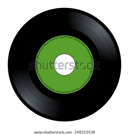 New gramophone vinyl. Black music long play album disc 45 rpm. lp with copy space, add text or graphic to blank record green color label, vector art image illustration isolated on white background