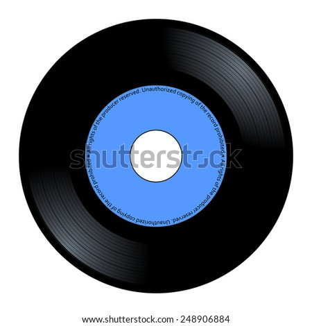 New gramophone vinyl. Black music long play album disc 45 rpm. lp with copy space, add text or graphic to blank record blue color label, vector art image illustration isolated on white background