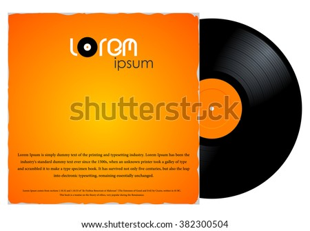 New gramophone vinyl LP record with orange label in paper case. Black musical long play album disc 33 rpm in cover envelope. old technology, vector art image illustration, isolated on white background - stock vector