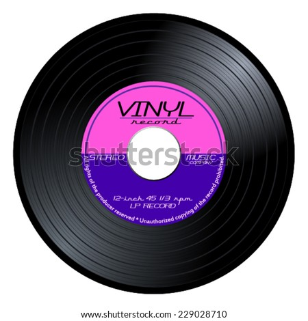 New gramophone vinyl LP record with pink and purple label. Black musical long play album disc 45 rpm. old technology, realistic retro design, vector art image illustration isolated on white background - stock vector