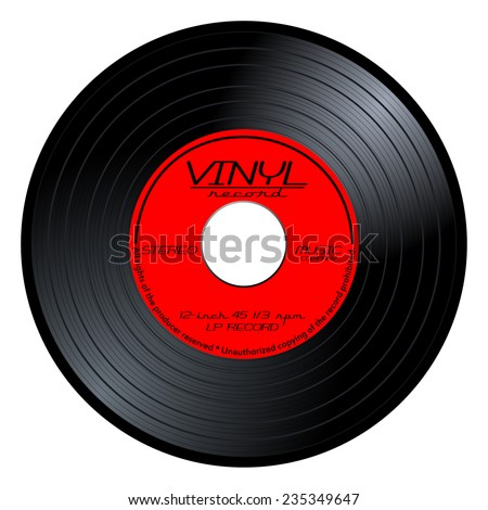 New gramophone vinyl LP record with red color label. Black musical long play album disc 45 rpm. old technology, realistic retro design, vector art image illustration isolated on white background eps10