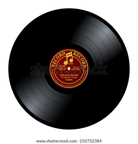 New gramophone vinyl LP record with red / yellow label. Black musical long play album disc 33 rpm. old technology, realistic retro design, vector art image illustration, isolated on white background - stock vector
