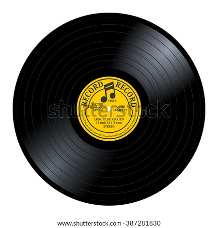 New gramophone vinyl LP record with yellow / gray label. Black musical long play album disc 33 rpm. old technology, realistic retro design, vector art image illustration, isolated on white background - stock vector