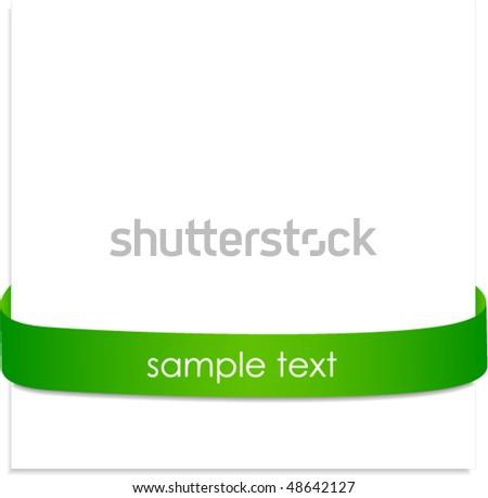 New green corner business ribbon. - stock vector