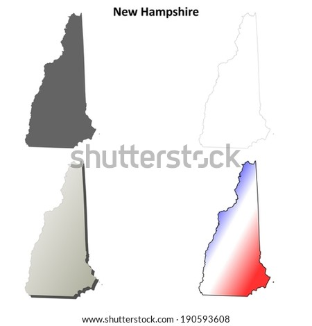 New Hampshire outline map set - vector version - stock vector
