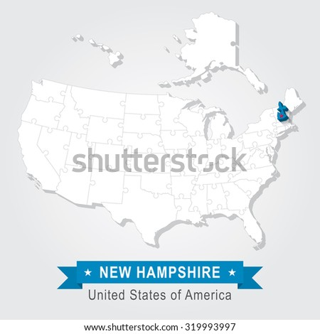 New Hampshire state. USA administrative map.