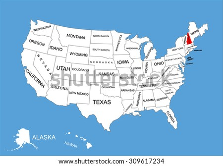 New Hampshire State, USA, vector map isolated on United states map. Editable blank vector map of USA. - stock vector