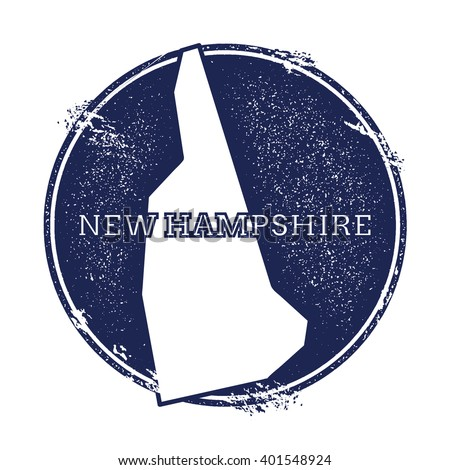 New Hampshire vector map. Grunge rubber stamp with the name and map of New Hampshire, vector illustration. Can be used as insignia, logotype, label, sticker or badge of USA state. - stock vector