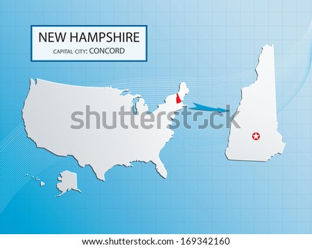 New Hampshire with capital Concord location marked in USA, American map